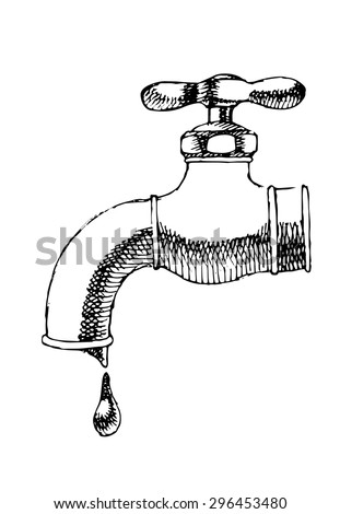 Sketch of water tap. Vector illustration.