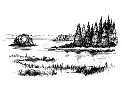 Sketch of wild nature with lake and forest. Hand drawn illustration converted to vector.