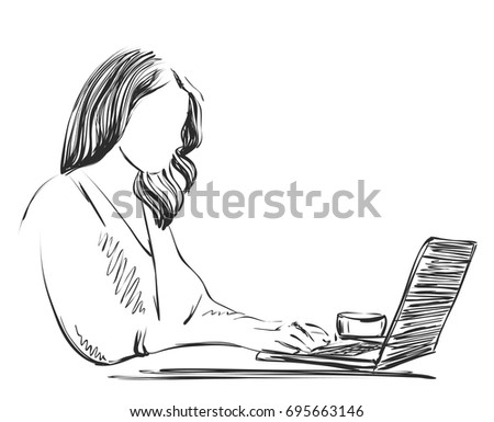 Sketch of woman working on lap top using pen tablet.
