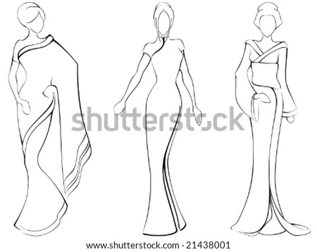 Sketch of women in traditional asian dresses vector a jpg version
