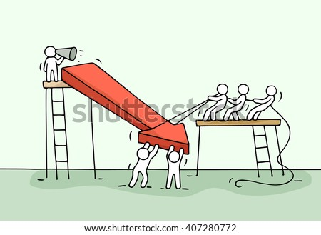 Sketch of working little people with arrow down, teamwork. Doodle cute miniature arrow and prepare out of the crisis. Hand drawn cartoon vector illustration for business design and infographic.