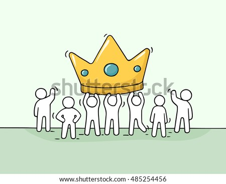 Sketch of working little people with big crown. Doodle cute miniature scene of workers about success. Hand drawn cartoon vector illustration for business design.