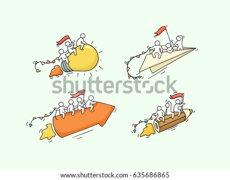 Sketch of working little people with creative symbols. Doodle cute miniature scene of workers. Hand drawn cartoon vector illustration for business design and infographic.
