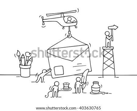 Sketch of working little people with letter, teamwork. Doodle cute miniature scene of workers preparing for the sending letter. Hand drawn cartoon vector illustration for business design.