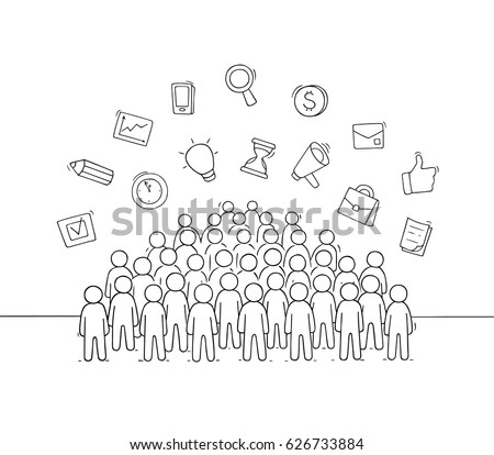 Sketch of working little people with signs. Doodle cute miniature scene of crowd and business symbols. Hand drawn cartoon vector illustration for social design.