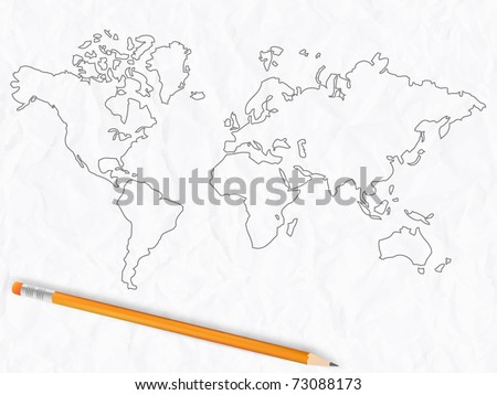 Sketch of world map with pencil