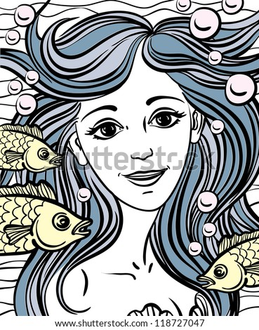 Sketch of yellow fish and mermaid with blue hair like waves