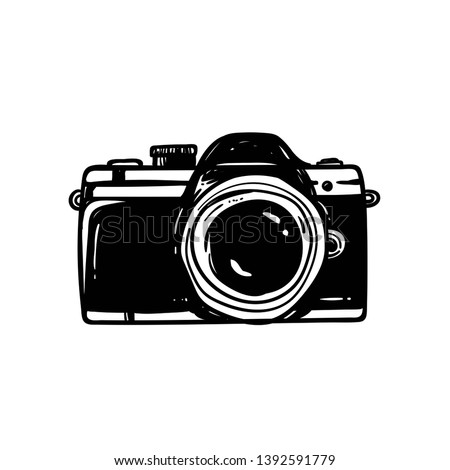 sketch old graphic style of vintag camera. Isolated vector illustration Photo stock ©