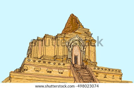sketch old temple pagoda wat ja