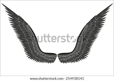 sketch open black angel wings....