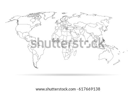 sketch outline world map high detailed template with isolated countries  #617669138