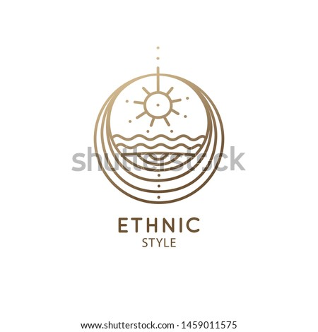 Sketch pattern with esoteric symbol of zen balance. Alchemy, religion, spirituality, occult magic, tattoo. Mystical geometry logo. Meditation icon, yoga, ecology. Vector illustration. Sacred geometry.