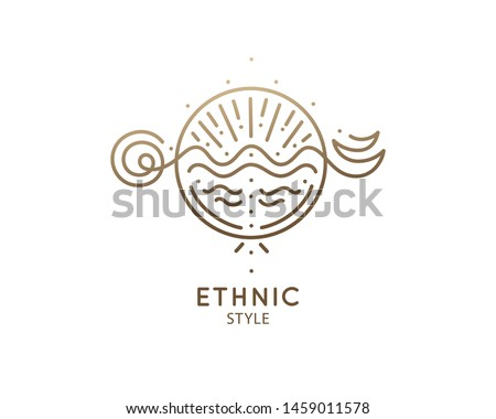 Sketch pattern with esoteric symbol of zen balance. Alchemy, religion, spirituality, occult magic, tattoo. Mystical geometry logo. Meditation icon, yoga, ecology. Vector illustration. Sacred geometry.