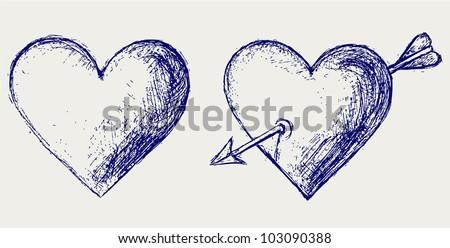 Sketch pencil. Heart - stock vector