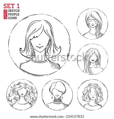 Sketch people icons. Women hand-drawn round pictograms isolated on white background.