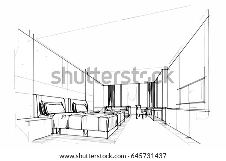 Interior design drawings perspective Cafe Sketch Perspective Interior Drawing Pen With Pencil Black And White Interior Design Vector Sketch Ez Canvas Sketch Perspective Interior Drawing Pen With Pencil Black And White