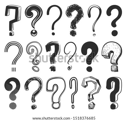 Sketch question marks. Hand drawn color interrogation signs, scribble ask question symbols. Doodle isolated vector light point trouble interrogator asking set Сток-фото ©