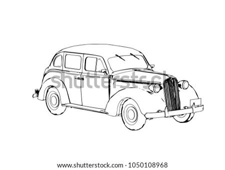 Vintage Car Sketch - Download Free Vector Art, Stock Graphics & Images