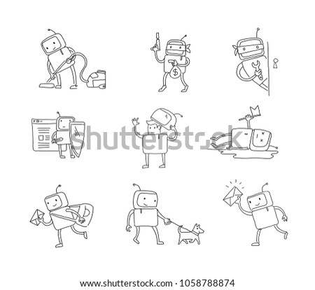 sketch robot set character with