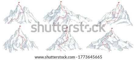 sketch route to mountain peak