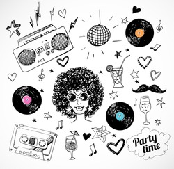 Sketch 80s party objects. Vector illustration.