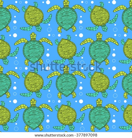 sketch sea turtle pattern in
