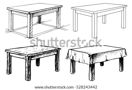 Sketch set isolated furniture. Different  tables. Linear black tables on a white background. Vector illustration. Stock photo ©
