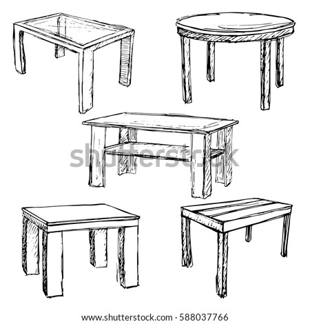 sketch set isolated furniture