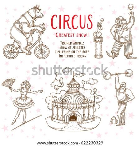 sketch set of circus artists...