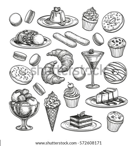 sketch set of dessert pastry