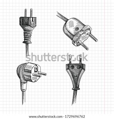 Sketch set of hand-drawn plugs. The set consists of Type E plug, US Type C plug, Type F (4.8 mm pins) plug, Type C plug