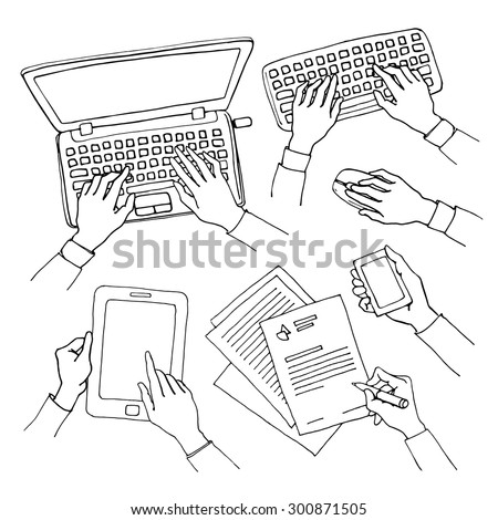 Sketch set of hands holding various hi-tech communication devices. Business concept of hand using laptop, tablet and smart phone, writing and typing on a keyboard. Black and white doodle illustration