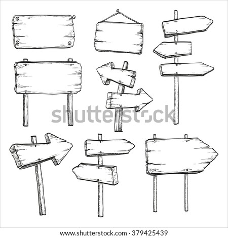 Sketch set of wooden signposts and signboards. Hand drawn  vector illustration. Isolated on white background.  #379425439