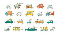 Sketch set with cute cars and people. Doodle cartoon miniature scene about transportation. Hand drawn cartoon vector illustration for vacation design.
