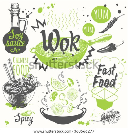 Sketch set with wok pan, chinese noodles, ginger, soy sauce. Funny labels asian fastfood symbols. Vector food illustration with products.