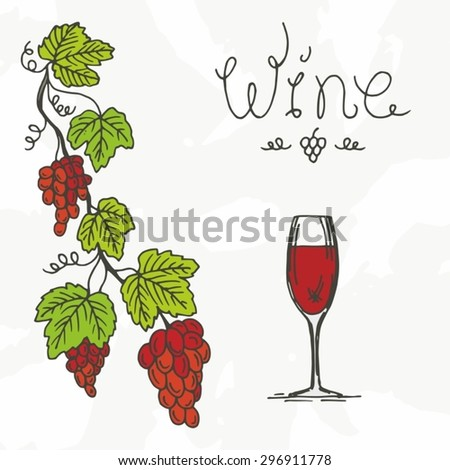 Sketch - Sketch drawn by hand - Grapes - Wine - Plants - Food and Drink - Background - Grape background.