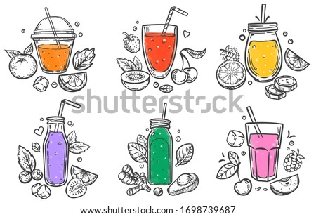 Sketch smoothie. Healthy superfood, glass of fruit and berries smoothies and slised natural fruits hand drawn vector illustration set. Smoothie fruit healthy, fresh drink diet, organic juice