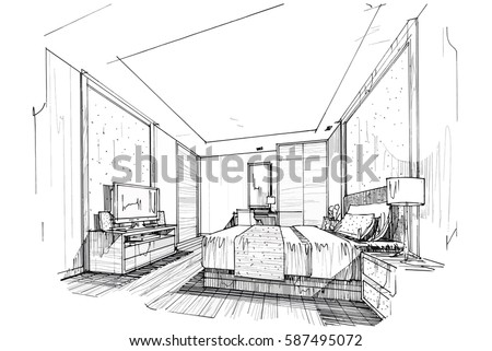 sketch streaks bedroom, black and white interior design. vector sketch