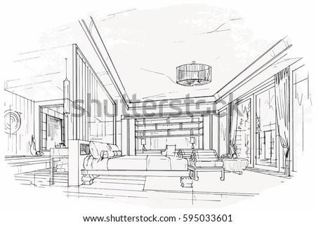 Sketch Streaks Bedroom Black And White Interior Design Vector