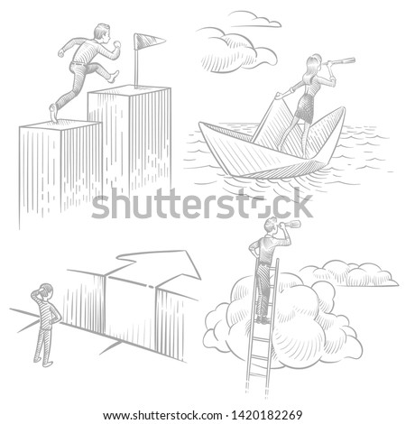Sketch style business people in search of solutions, career success, new ideas vector concept. Illustration of businessman search opportunity for job, professional looking solution
