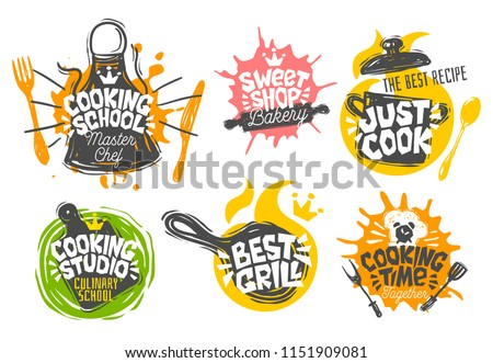 Sketch style cooking lettering icons set. For badges, labels, logo, bakery shop, grill, street festival, farmers market, country fair, shop, kitchen classes, cafe, food studio. Hand drawn vector