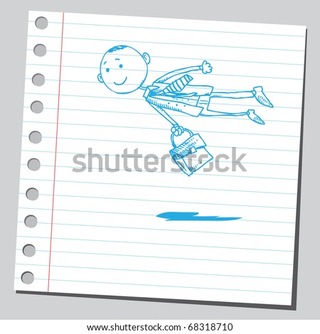 Sketch style illustration of a businessman flying