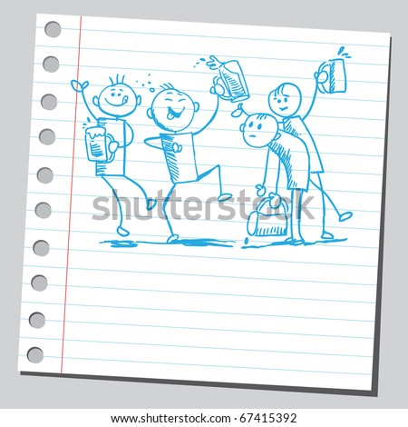 Sketch style illustration of a drunk happy people