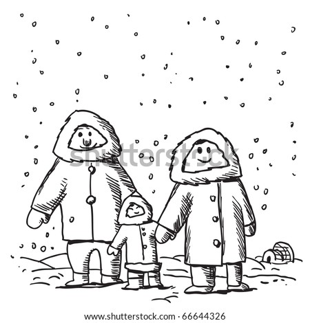 Sketch style illustration of a funny Eskimo family