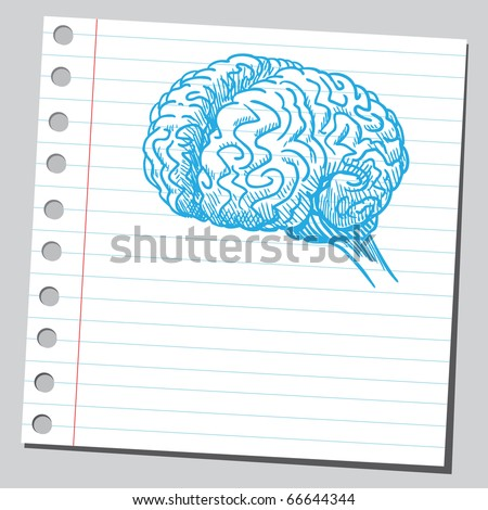 Sketch style illustration of a human brain