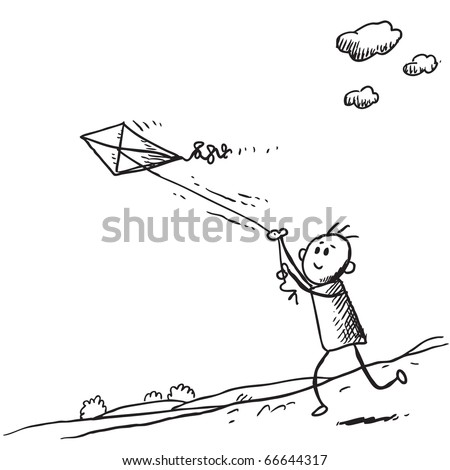 Sketch style illustration of a kid starting a kite