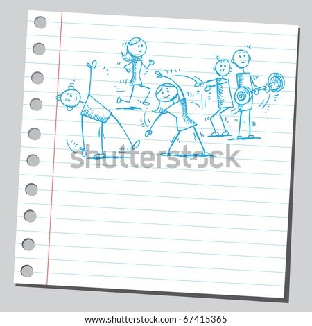 Sketch style illustration of a people exercising