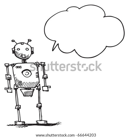 Sketch style illustration of a robot