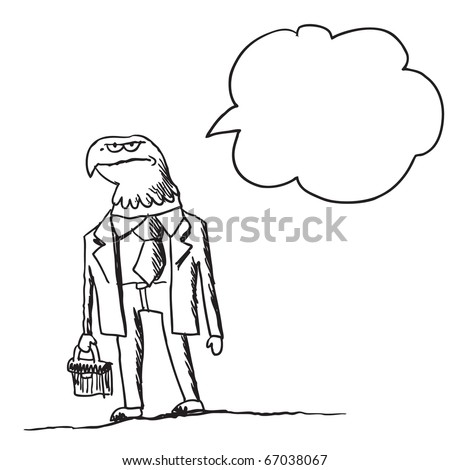 Sketch style illustration of an eagle businessman