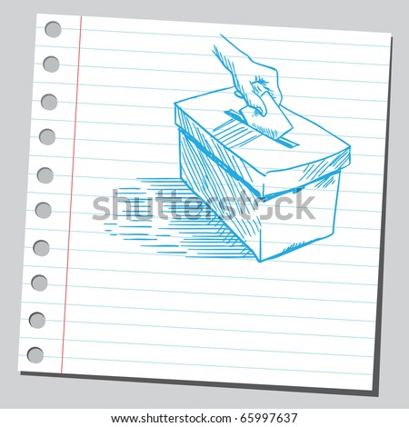 Sketch style vector illustration of a hand putting voting ballot in a vote-box